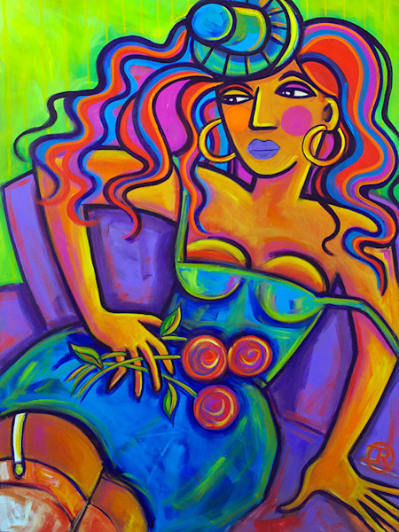 Long limbed and wide hipped with mocha skin, this voluptuous beauty looks wonderful against the deep purple of her couch and the royal blue of her dress. The vibrant green and orange streaks in her hair bring her to life in this original acrylic pain