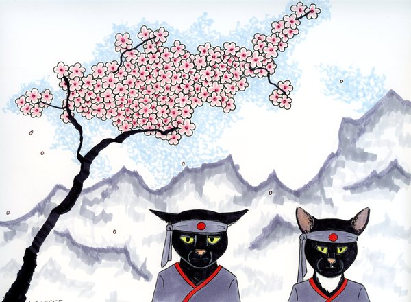 Two Black Cats and a Cherry Tree