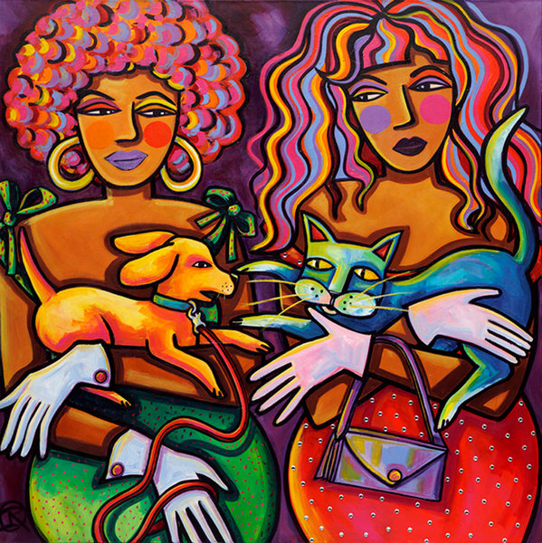 "In this whimsical, fun piece by artist Ilene Richard, the viewer is left to wonder if these two women are really ""True Friends!"""