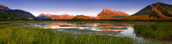 Low Water - Alpine Glow on Rundle.
