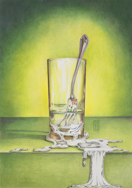 Glass With Melting Fork Art | Melissa A Benson Illustration