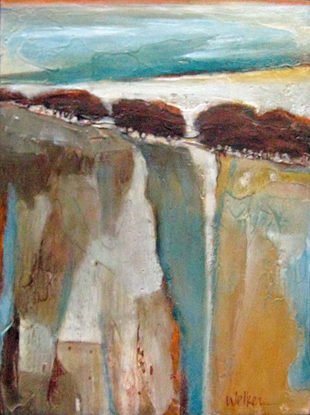 The beautiful colors of the southwestern landscape at dusk are highlighted in this original acrylic and mixed media painting by Lynn Welker.