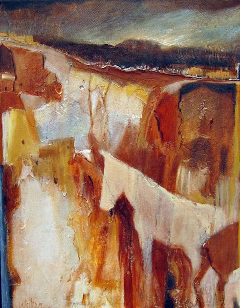 A threatening storm in heading in their direction, but the horses in this original acrylic and mixed media painting by Lynn Welker can take shelter in the canyon.