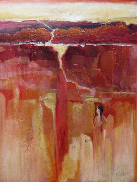 A feathered guardian hovers near her land and the dwellings of her people in this moving abstract landscape by artist Lynn Welker.
