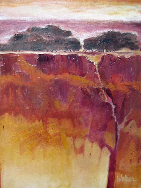 Deep purples and earthy tones suggest night is falling over this cliff with it's pale, barely visible, dwellings below in this original acrylic and mixed media painting by Lynn Welker.