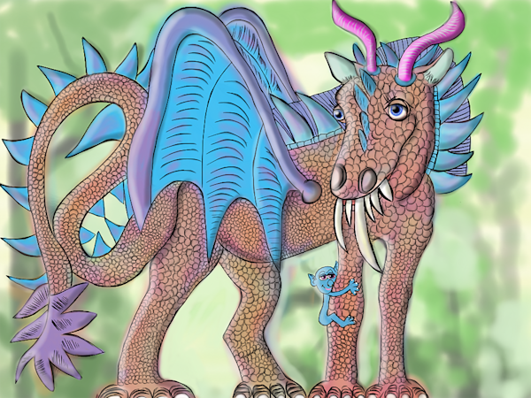 Equineaterus (Horsie) Dragon And Binky Fine Art Print