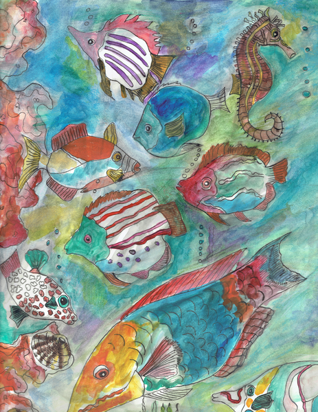 Fishies In Watercolor Fine Art Print