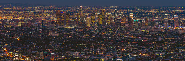 Panoramic Los Angeles Photographs. Night Cityscape Wall Art Decor.