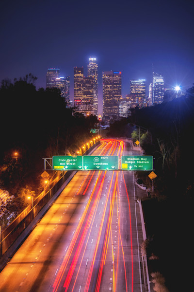 Downtown Los Angeles Freeway Night Art Decor Photographs.