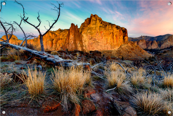 Rock Wall Sunrise (131039LND8) Smith Rock State Park Photograph for Sale as Fine Art Metal Print w/Acrylic Overlay & Stainless Steel Corner Posts