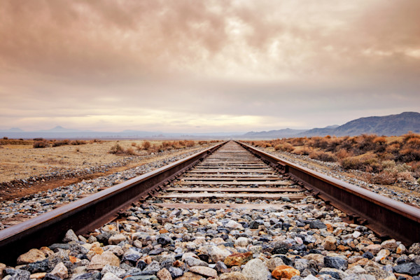 California Train Tracks Desert Photographs Art.