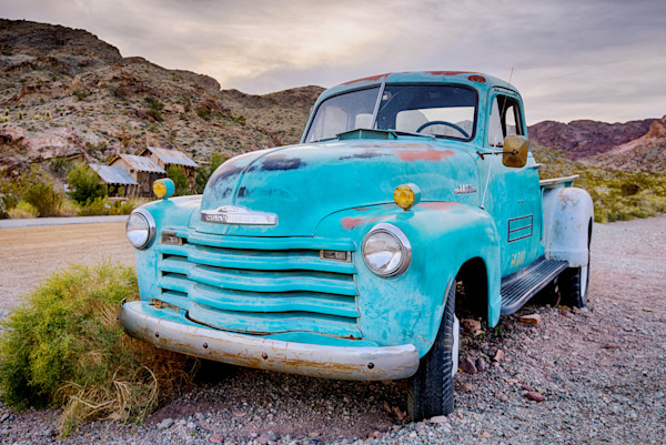 Ghost Town Art. Old Blue Pickup Truck Photographs.