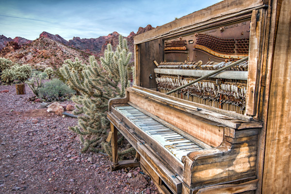 Ghost Town Photographs. Old Piano Desert Art.