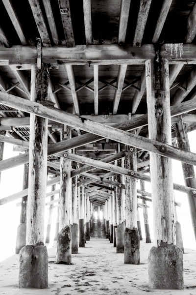 Newport Beach Pier Black and White Photographs Wall Art.