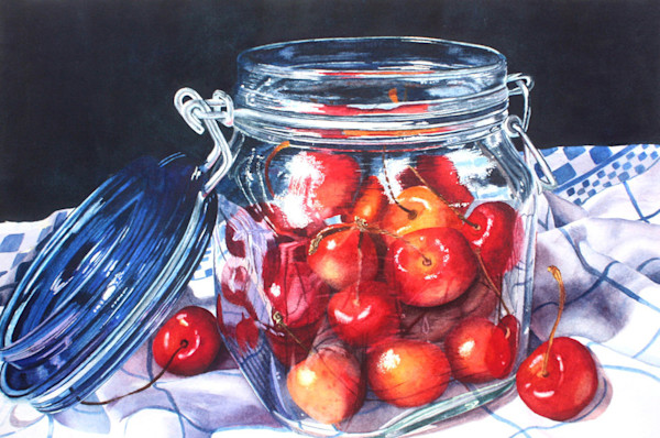 A small jar filled with ripe red cherries is set on a blue and white towel against a dark backdrop in this Limited Edition reproduction from an original watercolor by Marsha Chandler.