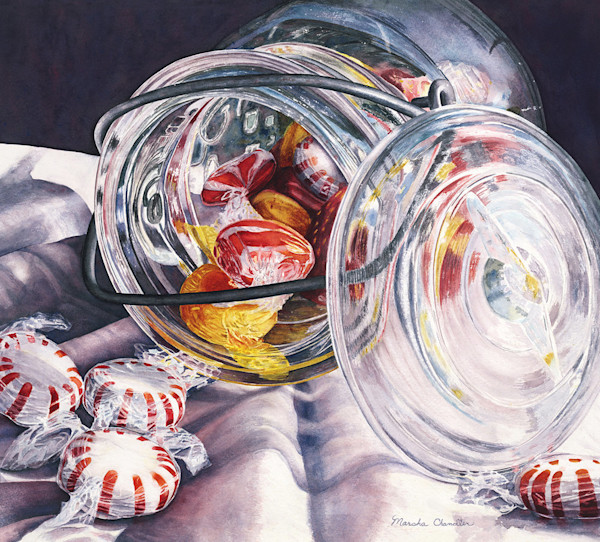 A kaleidoscope of candy, reflections, color and texture swirl through this painting in this Limited Edition reproduction from an original watercolor by Marsha Chandler.