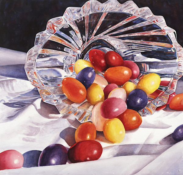 Yummy colorful jelly beans spill out of a beautiful glass bowl in this Limited Edition reproduction from an original watercolor by Marsha Chandler.