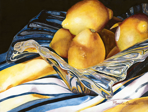 Marsha Chandler offers a collection of gorgeous realistic watercolors in food themes as limited editions.