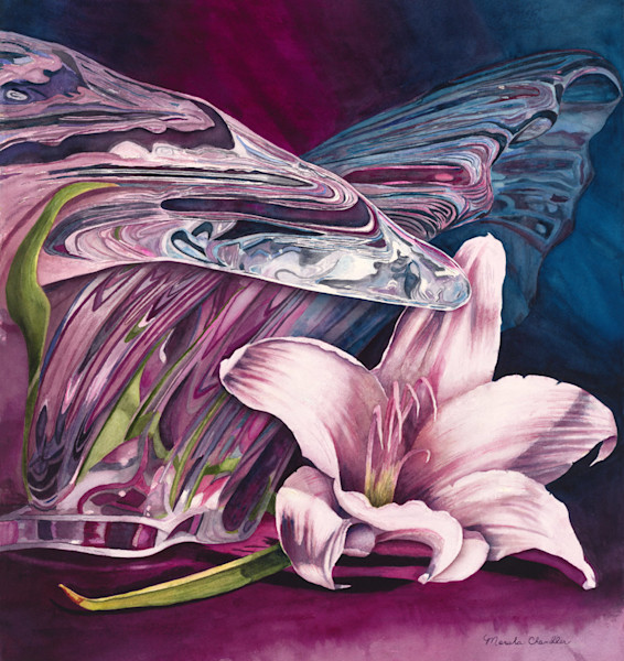 A beautiful pink lily blossom lies next to a glass sculpture, casting its pink reflection in the many curves and facets of the glass in this Limited Edition reproduction from an original watercolor by Marsha Chandler.
