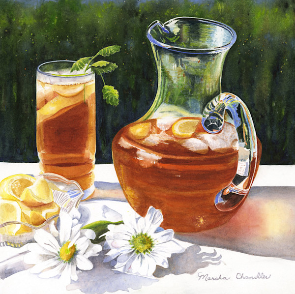 Sweet Southern Tea is the perfect solution for a hot summer day in this Limited Edition reproduction from an original watercolor by Marsha Chandler.