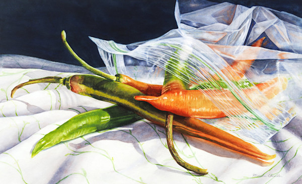 Spilling out from their protective plastic bag, these chile peppers are too hot to handle in this limited edition print from an original watercolor by Marsha Chandler.