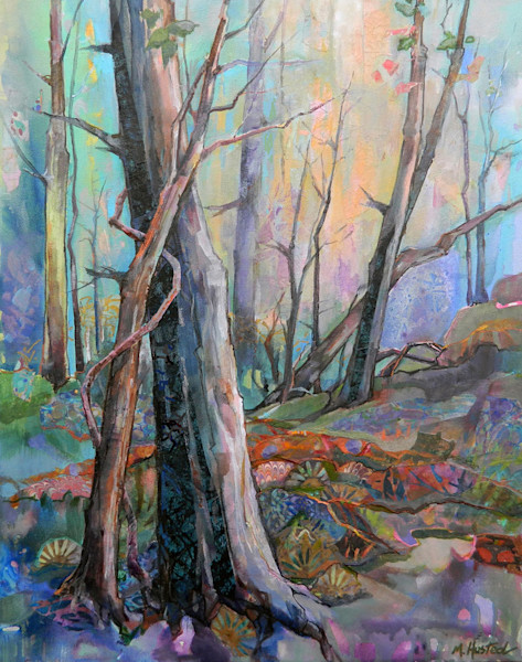 A deep dark mysterious forest, filled with color, pattern and texture, stretches into the mist in this original mixed media painting by Marty Husted.