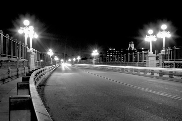 Pasadena California Wall Art Decor Photographs. Bridge Night Photography.