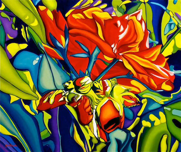 Bright bold abstract shapes of red and green combine in this beautiful image of red flower blossoms in a print from an original by Anne Gudrun.