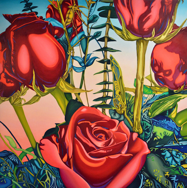 Stunning red roses are the focus of this beautiful image in this Open Edition Print from an original painting by Anne Gudrun.