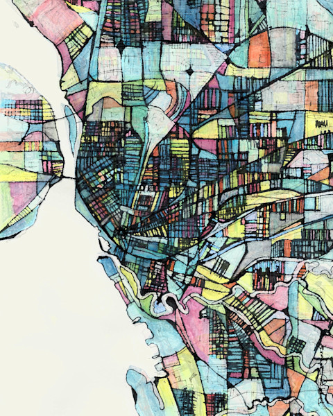 Contemporary Wall Art | Digitally merged illustrations and paintings map art of several US Cities | Sold as Art Prints on Canvas, Paper, Metal & More