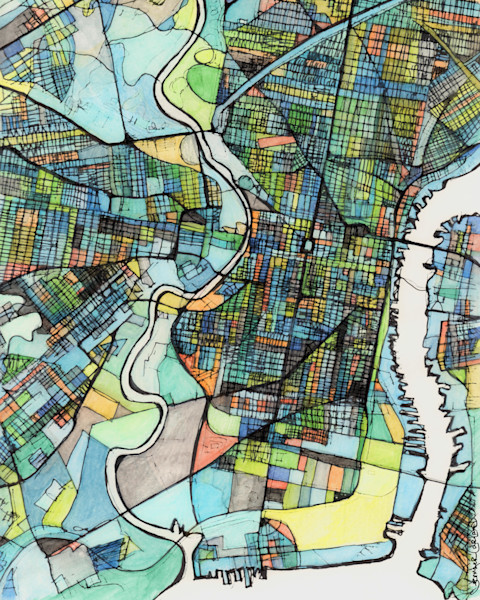 City Map For Sale Online- Abstract Art Print of Philadelphia PA