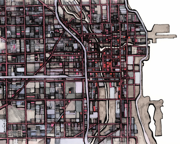 Chicago Modern Art Print- Abstract City Map for Sale