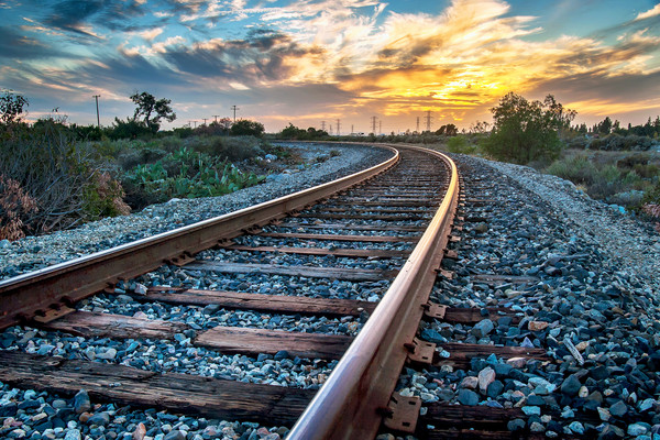 Train Tracks Sunset  Wall Art Decor Photographs.