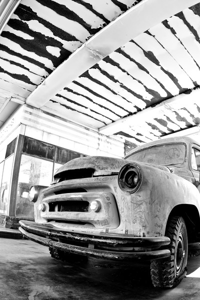 Black and White Route 66 Photographs. Old Truck Art.
