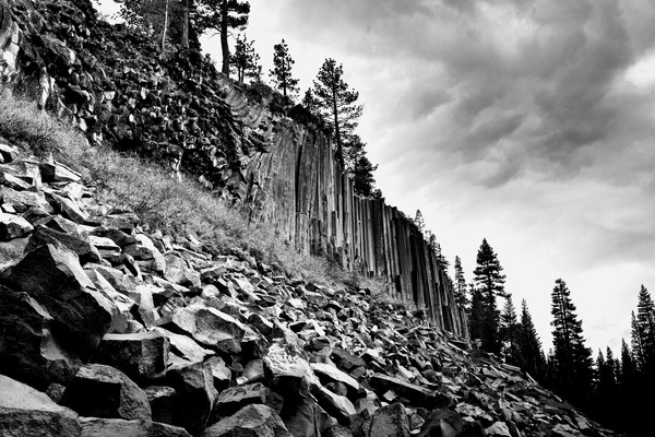 Devils Postpile Black and White Art Photographs.