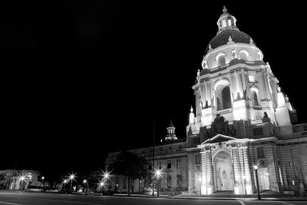 Pasadena City Hall Wall Art. Night Cityscape Photographs.