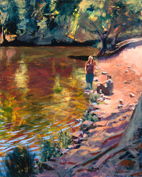 lake anza, tilden, landscape, painting, art