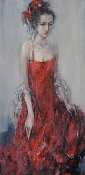 Oil painting of a flamenco dancer getting ready for a performance