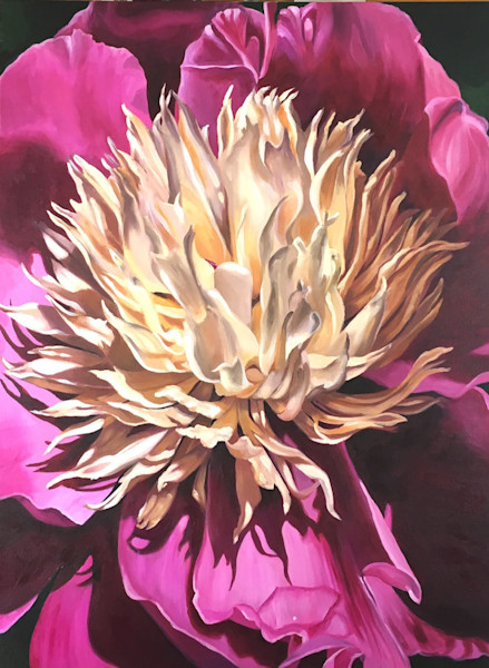 This stunning purple and white bloom stretches its petals towards the warmth of the sun in this painting by Sara Bardin.