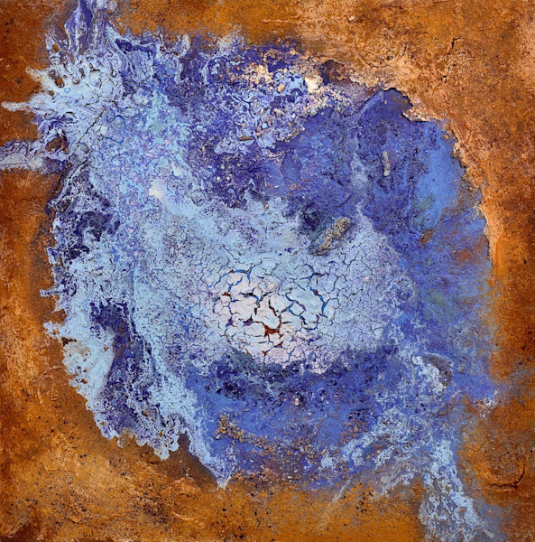 Brown and blue abstract art