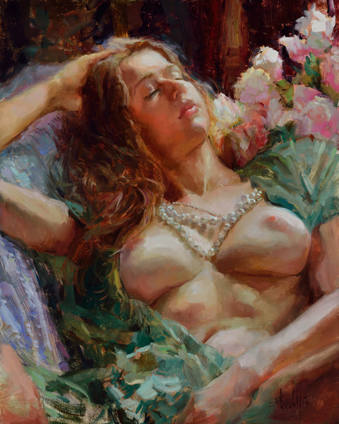 Oil painting of a reclining woman with an open shirt and a pearl necklace.