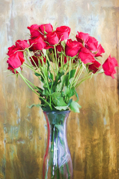 A bouquet of beautiful red roses, symbolizing true love, are arranged in a crystal vase in this print by photographer Todd McPhetridge.