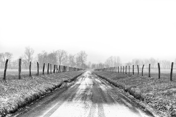 This fence-lined country road, dusted with snow, heads into the distant fog in this Open Edition print by photographer Todd McPhetridge.
