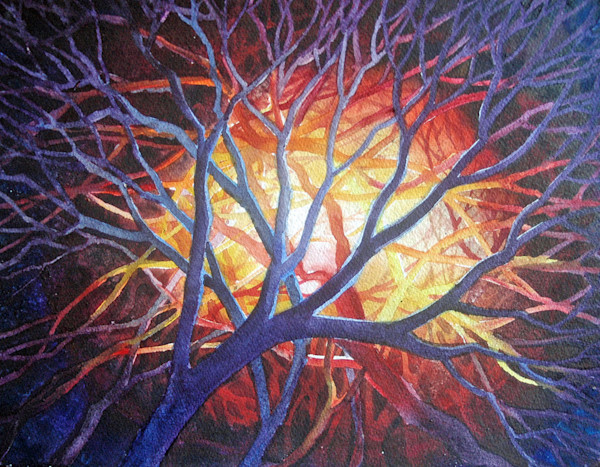 Fiery painting of branches catching in a bonfire by watercolor artist Helen Klebesadel