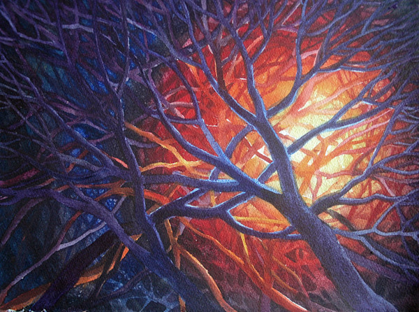 """One of a pair of studies for a larger watercolor titled """"Bonfire"""" this is ready to frame."""
