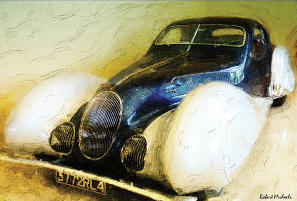 A gorgeous vintage French Car, the 1937 Talbot Lago, is one of the rarest cars ever manufactured. This Open Edition giclee print on canvas is from an original Digital Photographic Painting by Robert Michaels.