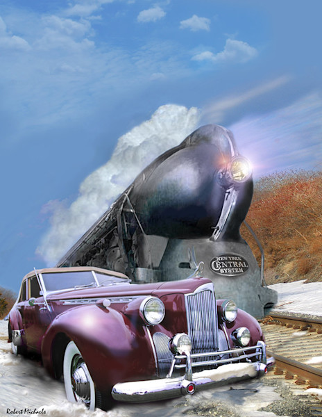 It's a race between the 1940 Packard and the 20th Century Limited Express Train in this surreal Digital Photographic Painting by Robert Michaels.