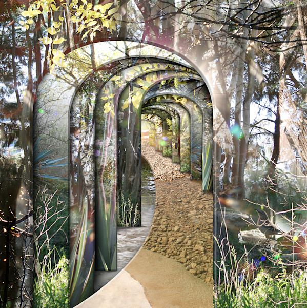 A pathway to another world this giclee print of Leslie Kell's digital photo collage shimmers with reflection and light.