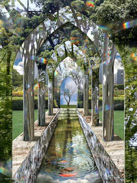 This digital photo collage by artist Leslie Kell is an incredible passageway to a dreamlike realm.
