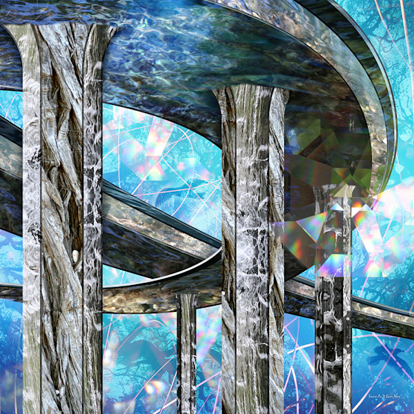 Reflective surfaces, water and light are incorporated into this dazzling photo collage by artist Leslie Kell.